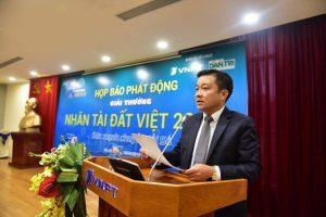 Ông Huỳnh Quang Liêm - Phó Tổng Giám đốc Tập đoàn VNPT, Chủ tịch Tổng công ty VNPT-Media, đồng Trưởng ban Tổ chức phát biểu tại họp báo